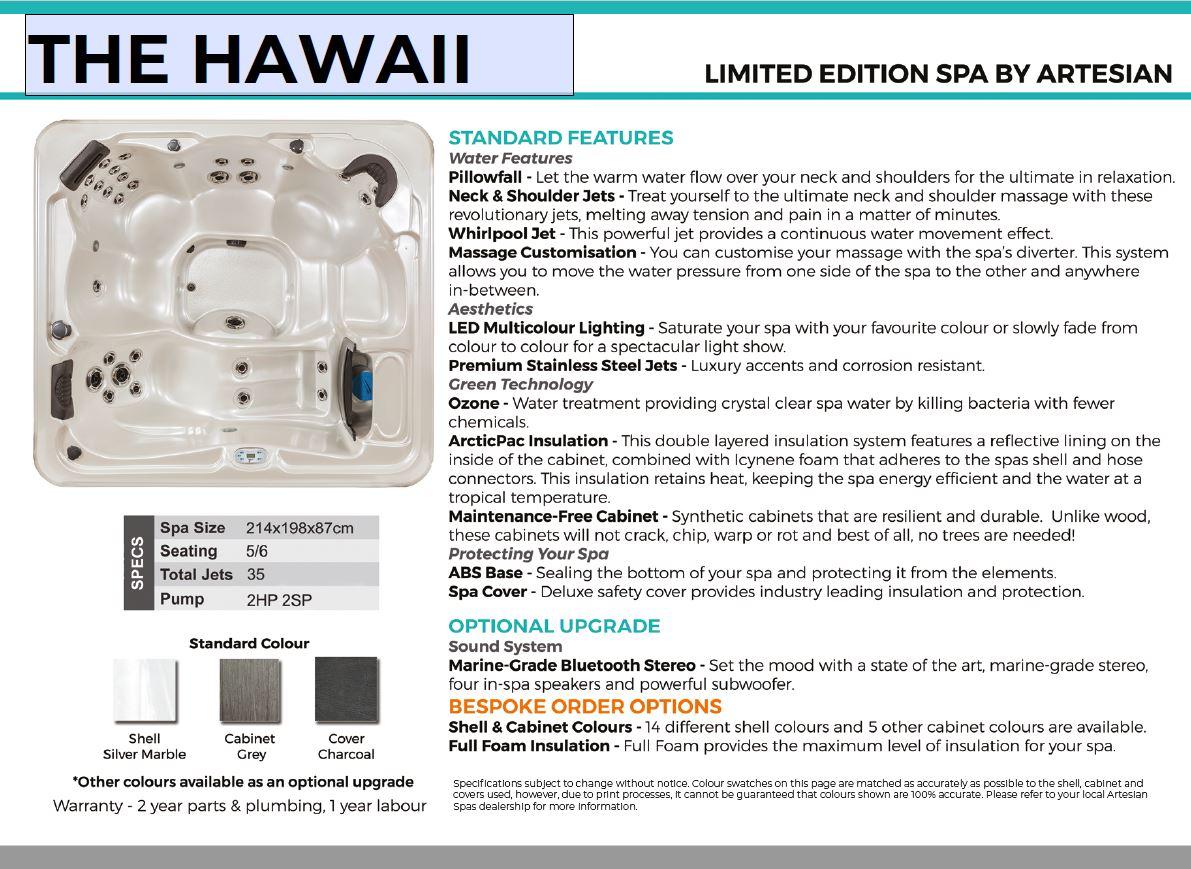 Hawaii Hot tub details